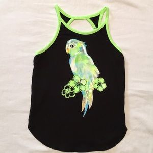 Justice Neon Tropic Parrot Tank Top Size Small